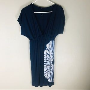 Tart navy white tie dye shirt sleeve knit dress S